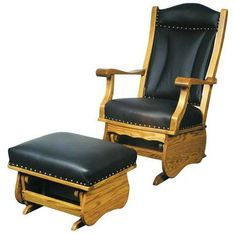 A regal cushioned back & head rest combine with elegant nailhead trim in a glider rocker & optional glider ottoman for an eclectic furniture piece of heirloom quality. Man Cave Furniture, Amish Furniture, Solid Wood Furniture, Fine Furniture, Furniture Sale, Furniture Making, Nursery Furniture, Nursery Room, Nursery Decor