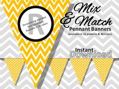 Gold Yellow Chevron Bunting Pennant Banner Instant Download - Mix & Match Banners:12 patterns / 40 colors - DIY Printable Party Decorations