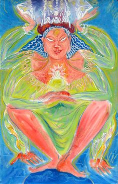"Goddess of the Support Group Watercolor and various media on paper 40"" x 26"""