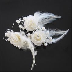 Free shipping!48pcs/lot multi colors feather flower with clip for corsage wedding flower headband DIY hair accessory