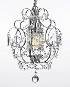 """Chrome Crystal Chandelier Lighting H 15"""" W 11.5"""" Swag Plug In-Chandelier W/ 14' Feet Of Hanging Chain And Wire! - G7-B15/1125/1"""