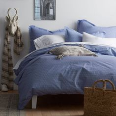 On Point Organic Duvet Cover - Cobalt Blue: Certified to meet Global Organic Textile Standards (GOTS). Blue Comforter Sets, Queen Comforter Sets, Blue Bedding, Duvet Sets, Blue Duvet, Organic Duvet Covers, Outdoor Cushions And Pillows, Patterned Sheets, King Sheet Sets