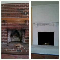 Before and after diy fireplace brick paint white.  Can't wait to do this to my fireplace!