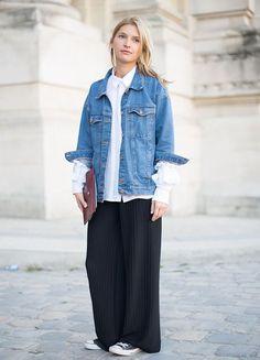 Oversize jeansjacke, weite blaue hose