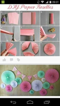 Not these colors – Decoration Papier - 2020 weddings Paper Rosettes, Tissue Paper Flowers, Origami Flowers, Peony Flower, Diy Birthday Decorations, Paper Decorations, Decoraciones Eid, Diy Paper, Ideas Para Fiestas
