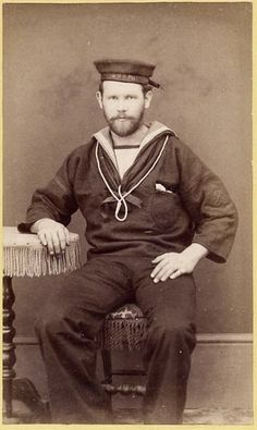 OLD CABINET CARD SEATED SAILOR
