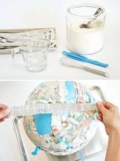 Make this easy Paper Mache globe to learn geography. For Cycle 1, good for teaching Science weeks 21 & 24: great circles around the earth & markings on the globe.