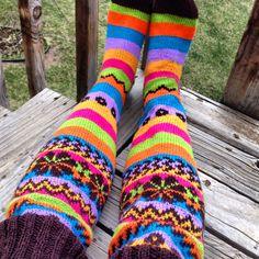 The Saga of the Rainbow Striped, Fair Isle, Thigh-High Socks Thigh High Socks, Thigh Highs, Brown Sheep Yarn, Cute Socks, Rainbow, Knitting, Rain Bow, Rainbows, Tricot