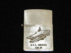 Vintage Vietnam Zippo Lighters | Daily Deals Uss America, Zippo Lighter, United States Navy, Vietnam War, Daily Deals, Norfolk, Virginia, Navy Blue, Military