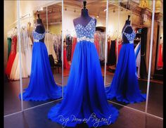 This beautiful Prom dress has a one shoulder strap covered with iridescent jewels which cascade down to a cluster of sparkling of crystals. An open back with an asymmetrical strap and a flowing full-length chiffon skirt finish this beauty. Stunning and ONLY at Rsvp Prom and Pageant, Atlanta, Georgia or click on the following link to buy it now http://rsvppromandpageant.net/collections/long-gowns/products/royal-blue-prom-dress-beaded-one-shoulder-open-back-115ec0151540389