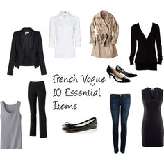 """French Vogue 10 Essential Items"" by parentista on Polyvore"
