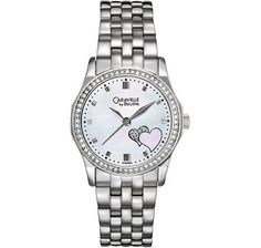 With sparkling crystals on the bezel and hour markers, and a beautiful heart shape applique on the dial, this watch from Caravelle by Bulova makes a fabulous gift for the one you love. Bulova Watches, Pre Owned Watches, Crystal Collection, Love To Shop, Beautiful Watches, Heart Jewelry, Stainless Steel Bracelet, Jewelry Stores, Heart Shapes