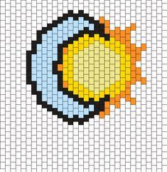 Sun And Moon Kandi Pattern Melty Bead Patterns, Kandi Patterns, Bead Loom Patterns, Peyote Patterns, Loom Bracelet Patterns, Beaded Necklace Patterns, Bead Loom Bracelets, Native Beading Patterns, Bead Embroidery Jewelry