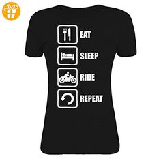 Eat Sleep Ride Repeat Funny White Motorcycle Graphic Design Womens T-Shirt Large (*Partner-Link)