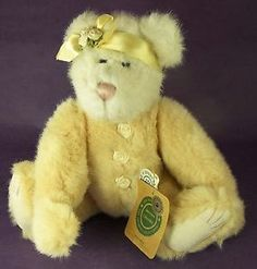 Boyds Bear Gwendina Yellow Plush with Ribbon Rosettes 11 inches tall Tag 1999 Boyds Bears, Teddy Bears, Ribbon Rosettes, Wine Bottles, Plush, Dolls, Yellow, Friends, Sweet