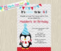 Boy Penguin Birthday Invitation Penguin 1st by jcbabycakes on Etsy, $11.00