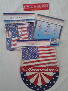 4th Of July Party Pack 5 piece America Patriotic Stars And Stripe Red White Blue #Unbranded #4thofJuly