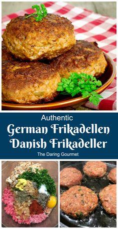 Authentic German Frikadellen / Danish Frikadeller - The Daring Gourmet Meat Recipes, Dinner Recipes, Cooking Recipes, German Food Recipes, Norwegian Recipes, Sushi Recipes, Barbecue Recipes, Meatball Recipes, German Recipes Dinner