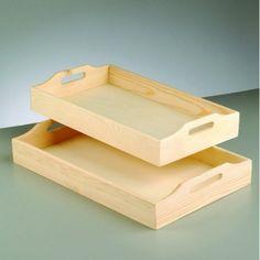 Träbricka set 42,5 x 26,5 x 7 cm - obehandlat 2 delar