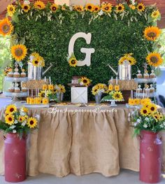 """Bee Impressed Events🐝 on Instagram: """"Sunflower Dessert Table🌻 *centerpieces and drink station decor included* designed by :@beeimpressedevents #Sunflowerdesserttable…"""" Sunflower Party Themes, Sunflower Birthday Parties, 1st Birthday Parties, Grad Parties, Sunflower Weddings, Sunshine Birthday, Baby Girl Birthday, Baby Girl Shower Themes, Baby Shower Gender Reveal"""