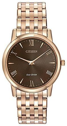 Citizen Watch Stiletto Men's Quartz Watch with Brown Dial Analogue Display and Rose Gold Stainless Steel Rose Gold Plated Bracelet AR1123-51X, http://www.amazon.co.uk/dp/B00LL2ZKN8/ref=cm_sw_r_pi_awdl_u9q7ub0KPSE1X