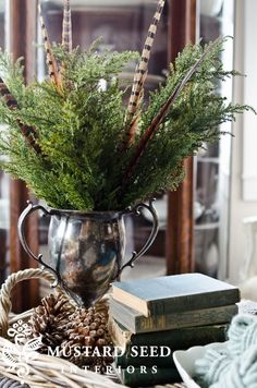 Trophy w/ Greens & Feathers, Books, Pinecones, Bowl of Yarn--all in Wicker Tray