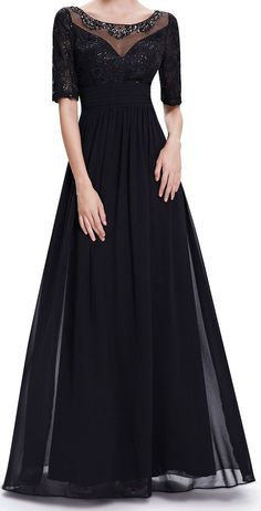 Sequins black evening dress