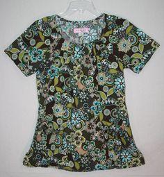 Koi Kathy Peterson Dakota Floral Scrub Top Small 165PR Brown Tan Green #Koi Nurses Scrubs