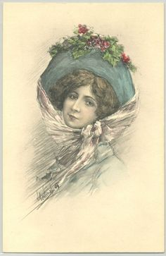 MB092 VK VIENNE 7046 artist signed FEMME GRAND CHAPEAU  BEAUTIFUL LADY Large HAT