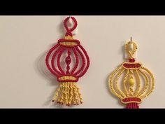 Macrame the lantern 红灯笼祝生活事业红红火火 Macrame Owl, Macrame Knots, Macrame Earrings, Drop Earrings, Jewelry Knots, Macrame Tutorial, Macrame Patterns, Video Tutorials, Tatting