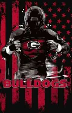 Georgia Bulldogs football meets Superman in this sweet piece of art. Georgia Bulldog Wreath, Georgia Bulldogs Football, College Football Teams, Football Shirts, Football Helmets, Georgia Football Schedule, Bulldog Game, Bulldog Puppies, Bulldog Wallpaper