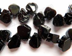 "Black Tourmaline - Top Drilled Free Form Flat Briolette 16"""