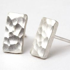 small hammered sterling silver stud earrings by tlk | notonthehighstreet.com
