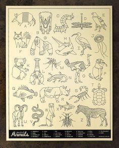animal alphabet by Curtis Jinkins as 'Neighborhood Studio' Art Prints, Animal Art, Geometric Animals, Elementary Art, Illustration, Drawings, Alphabet Art, Art, Design Art