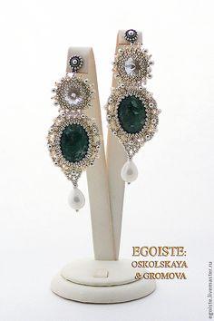 EGOISTE №27 - Крупные свадебные серьги 2 Diamond Ice Lady II - тёмно-зелёный