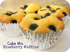Fresh Blueberry Cake Mix Muffins.  Delicious, moist muffins made with a cake mix!