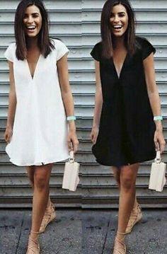 Fashion Women V-neck Short Sleeve Summer Mini Dress Solid Tops Casual Sundress Lace Summer Dresses, Nice Dresses, Casual Dresses, Fashion Dresses, Short Sleeve Dresses, Dresses Dresses, Mode Ab 50, Simplicity Fashion, Vestidos Plus Size