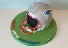 Sports Display Cases From Sports Case Kings Football Fans, Football Helmets, Football Birthday Cake, Birthday Cakes, Cake Board, Round Cakes, New England Patriots, American Football, Display Case