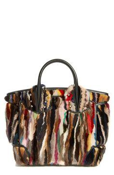 Christian Louboutin | Black 'large Eloise' Studded Leather & Genuine Mink Fur Satchel | Lyst