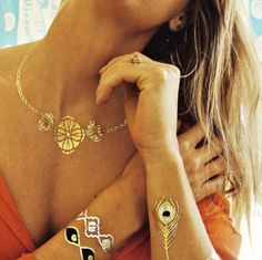 non toxic flash gold tattoos metallic Sofia Flash Tattoos temporary body art jewelry bling wild boho fun summer party festive gala wedding festivals summer sexy goddess bold Gold Tattoo, Metal Tattoo, Tattoo Set, Flash Tattoos, Tatoos, Gypsy Style, My Style, Gypsy Chic, Boho Style