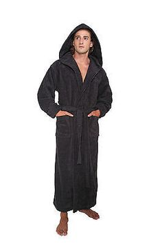 82370dab51 Hooded Bathrobe Mens Turkish Cotton Terry Spa Robe With Hood Men s Robes