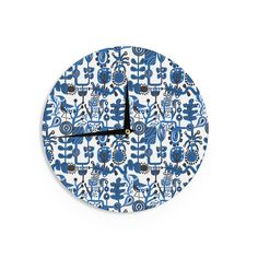 "Kess InHouse Agnes Schugardt Dream"" Blue White Wall Clock 12"" (Dream) (Wood)"