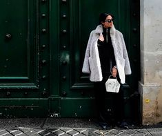 Tania Sarian wearing Gaia White Onesixone bag, limited edition with fur coat
