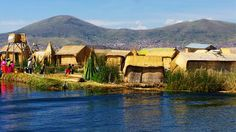 An island of floating reeds in Lake Titicaca, Bolivia