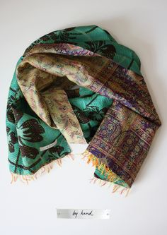 by hand green scarf
