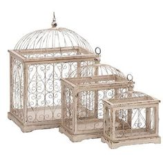 Cole & Grey 3 Piece Wood and Metal Decorative Bird Cage Set