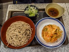 """Asakusa Fuji Soba 2/2 ...and our mori soba (cold soba noodles with dipping sauce and a kakiage: yes we do love kakiage!) at a ridiculously low price and without thinking about the time (""""Fuji Soba"""" is open 24/7) #Asakusa, #soba, #fuji, #kakiage, #mori April 26, 2015 © Grigoris A. Miliaresis"""