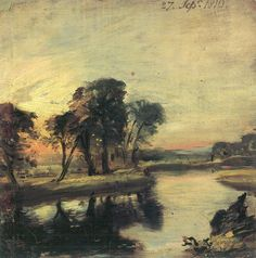 i love how constable has a minimum amount of colours in his palette. He uses bold brush strokes which look messy if you look at it individually but when you look at the whole picture you don't even notice them.