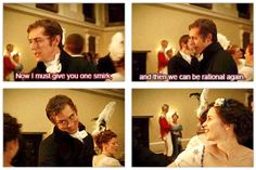 """Northanger Abbey: """"Now I must give you one smirk, and then we can be rational again."""" Mr. Tilney, what are you doing? (gif)"""