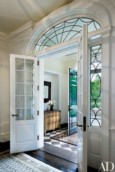 Alex and I are going to take our little Vestibule space and turn it ., vestibule view afterwards - Design Idea in Liverpool NWE, Vintage V. Architectural Digest, Entry Foyer, Entry Doors, Front Entry, Hallway Ideas Entrance Narrow, Foyer Ideas, Entry Way Tile, Big Doors, Door Entryway